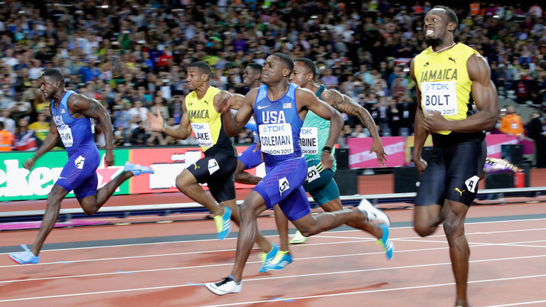 Usain Bolt loses to Gatlin in last 100m race