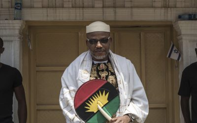 Kanu vows to strengthen struggle for Biafra after parents' burial
