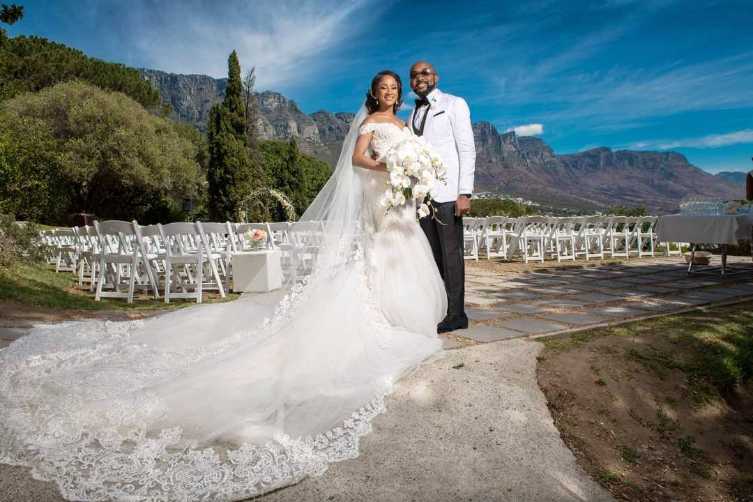 PHOTO: Banky W And Adesua Etomi's White Wedding In South Africa
