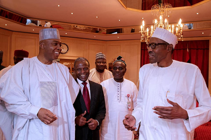 Saraki, Dogara felicitate with Buhari at 75
