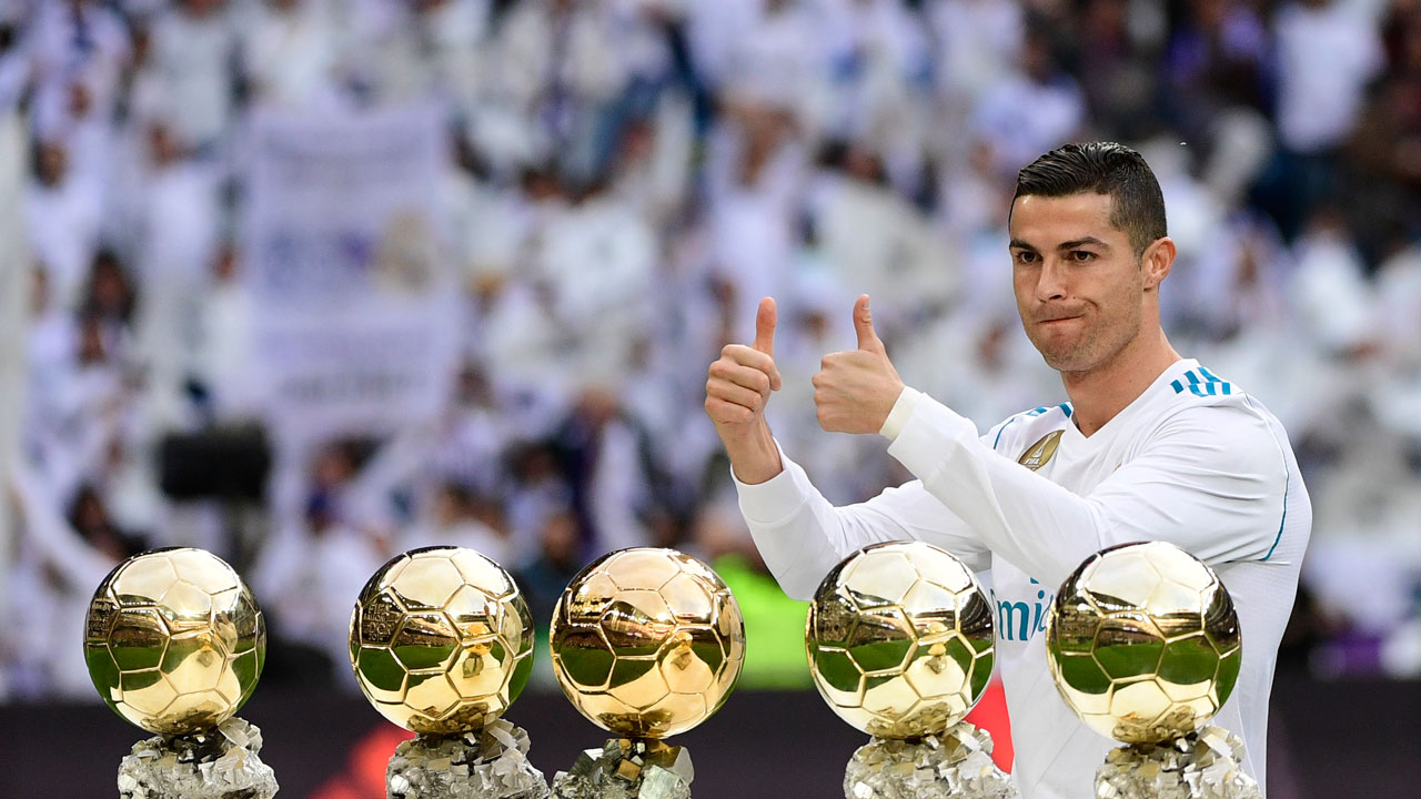 Ronaldo presents fifth Ballon d'Or to Bernabeu