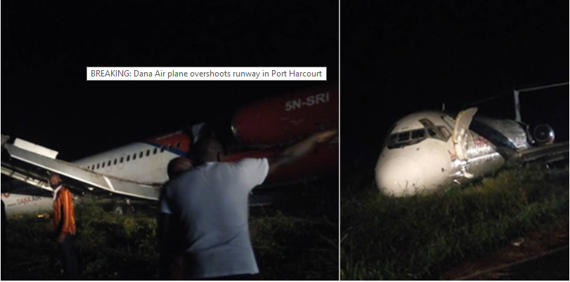 Disaster averted as Dana Air Plane speeds past runway in Port Harcourt