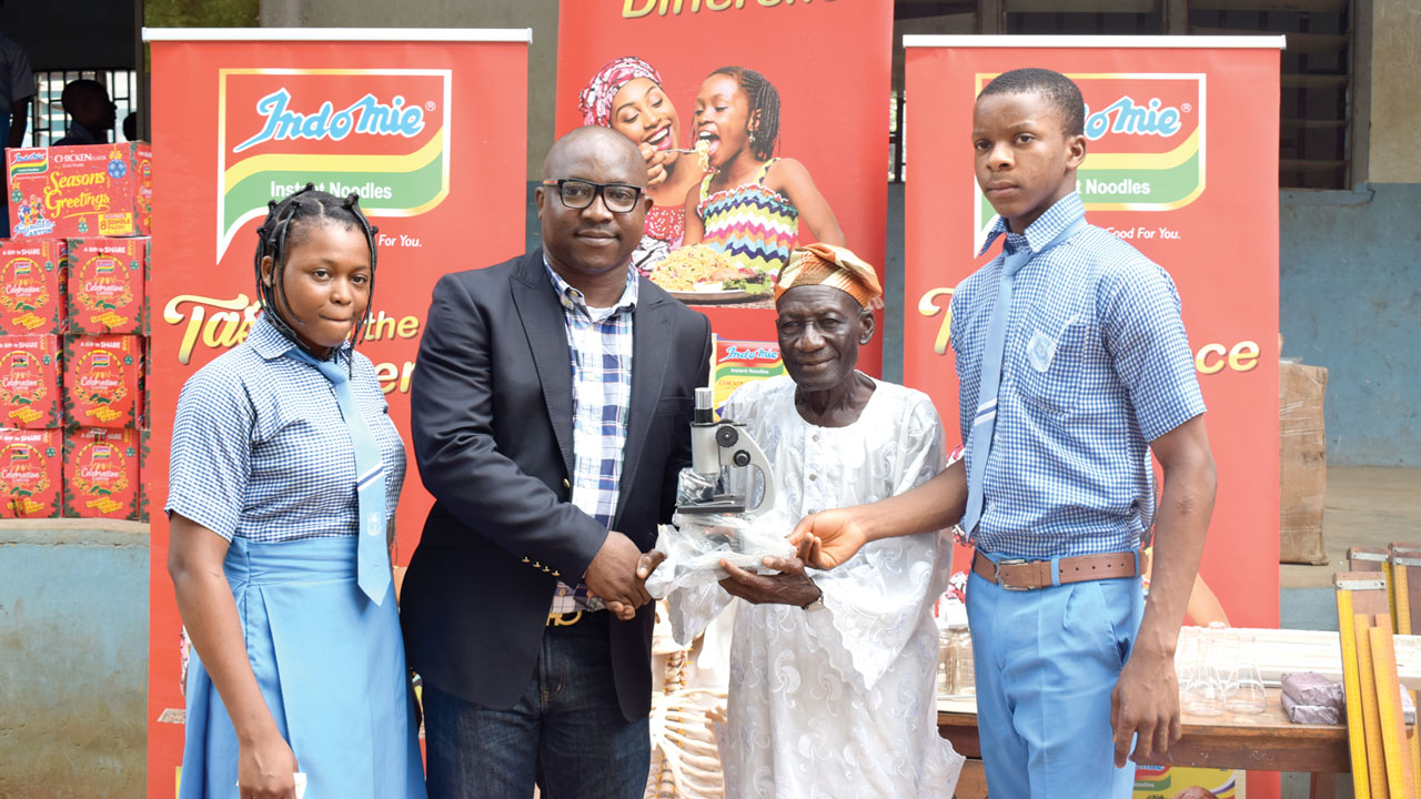 Indomie donates science laboratory equipment to multiple-award winning Iganmode Grammar School