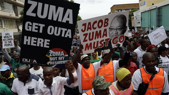 "South Africans begin ""Zuma must go"" protest"