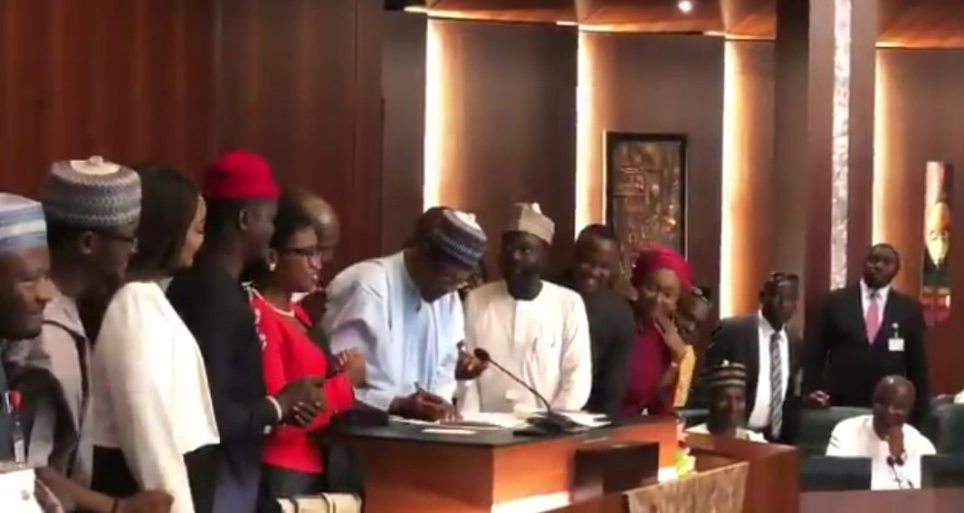 'Not too young to run': Buhari signs bill into law