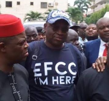 Fayose storms EFCC office with his bag of clothes, says 'I'm here'