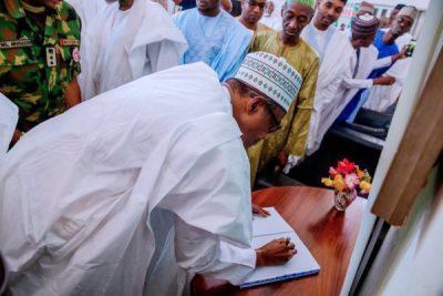 PHOTOS: Buhari visits the Shagaris, promises to immortalise late leader
