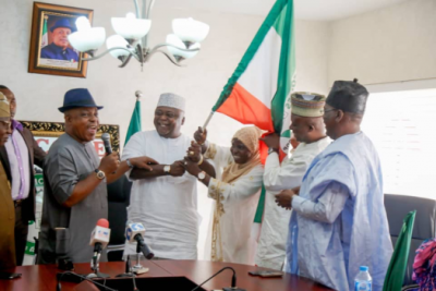 Ogun PDP Chairman Congratulates Oladipupo Adebutu As He Receives Party's Guber Flag From National Chairman