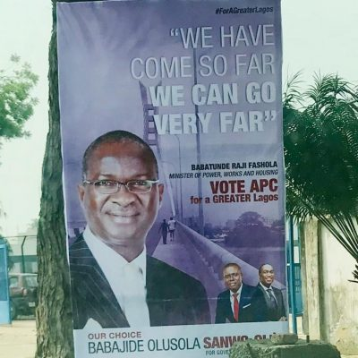 Lagos2019: Sanwoolu handlers picks Fashola's picture to boost campaign