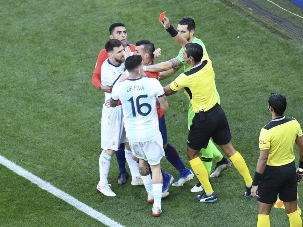 Messi sees red, sent off in Copa America 3rd place match against Chile