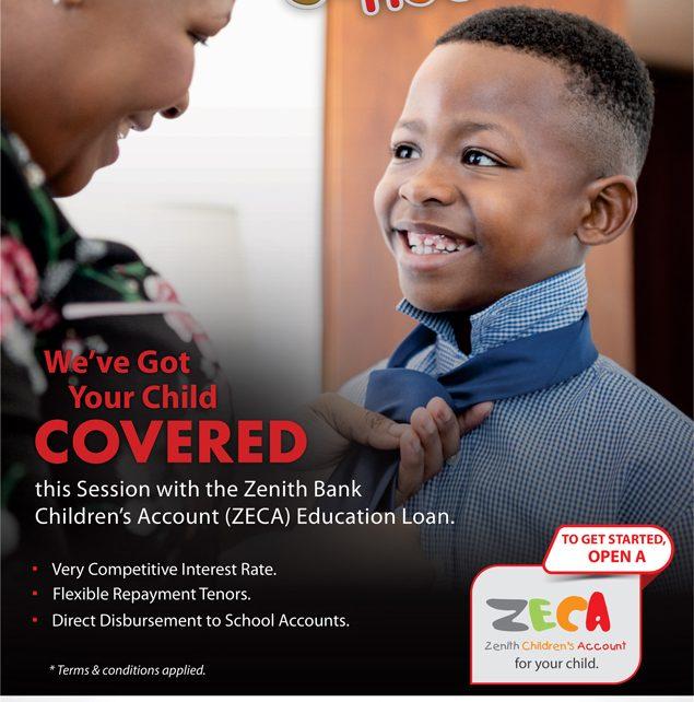 Zenith Bank offers ZECA Education Loan for children/newsheadline247.com